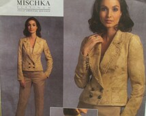 Badgley Mischka Fitted Jacket Pattern, Notched Collar, Princess Seams, Details, Pants - Vogue Designer 1040 UNCUT Size 6 8 10 12