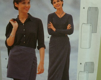 Mini Wrap Skirt, Close Fitting, Diagonal Front Slant, Contour Waist, Long Skirt, Burda No. 2841 UNCUT Size 10 12 14 16 18 20