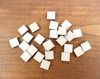 """Stud Earring Wood Squares Blanks Shapes 10mm (almost 1/2"""") x 1/8"""" (3.175mm) Thick Wood Jewelry Shapes - 25 Pieces"""