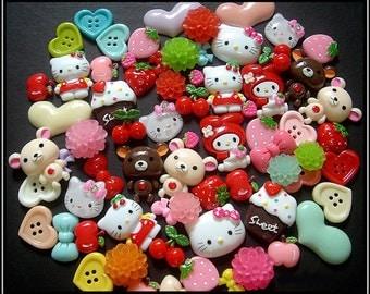 Assorted Flatback Resin Cabochons - Sweet Cute Kawaii Decoden Kitty Bear Flower Hearts Rabbit, DIY Craft Jewelry Handicraft Scrapbooking