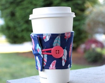 Feather Coffee Sleeve / Coffee Cozy - Navy Blue, Grey, and Coral Feathers - Teacher Christmas Gift - Stocking Stuffer -Secret Santa Coworker