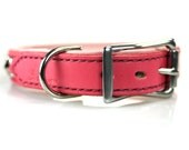 Pink Leather Dog Collar - Designer Dog Collar for Small Dogs