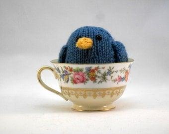 Hand Knit Bird.  Blue-Gray Bird. Blue Bird. Woodland Plushie. Pretend Play. Stuffed Bird. Basket Stuffer. Ready To Ship. Gifts Under 10