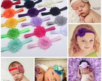 You Pick 8, Shabby Chic FOE Headband Set, Infant Headband, Newborn Headband, Infant Headbands, Shabby Chic Headband, Baby Girl Headbands