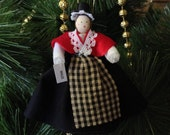 Wales ORNAMENT clothespin doll - Welsh costume, black white and red outfit