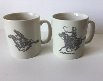 Vintage Cowboy Western Coffee Mugs Cowboy and Horses Set of 2
