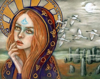 Corra Scottish Pagan Goddess Cranes 8x10 fine art print