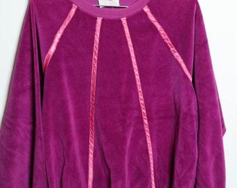 Vintage70s/80s Plum Purple Velvet Like Grunge Pullover Crew Neck Sweat Shirt Unisex