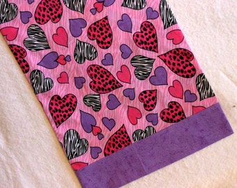 Pillowcase Travel Size Zebra and Leopard Hearts on Pink