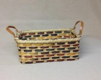 Hand Woven Rectangular Basket, Harvest Colors, Light Chestnut Leather Side Handles
