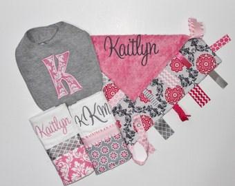 PERSONALIZED Baby Girl Set in Pink and Gray Includes Ribbon Tag Blanket, Bib and Burp Cloths - Medallions, Damask, Flowers