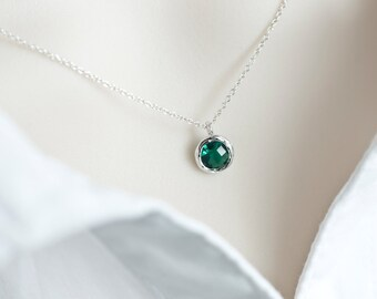 Green Emerald  Necklace, Green Emerald Round Glass Drop, Bridesmaids Gift, Dainty Everyday Necklace
