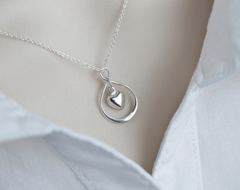 Infinity Necklace, Infinity Heart Necklace, Silver Infinity Necklace, Best Friend Gift Heart Infinity Charm, Friendship Necklace, Mom Gift