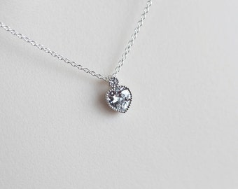 Heart Necklace, Cubic Zirconia Tiny Heart Necklace, Modern Everyday Jewelry, Dainty Delicate Necklace, Diamond Necklace, CZ Jewelry
