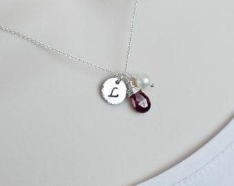 Initial Garnet Necklace, January Birthstone Necklace, Sterling Silver Initial Garnet Necklace, Personalized Garnet Necklace, Marsala Wedding