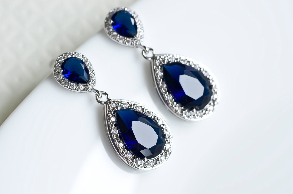 Sapphire Earrings Blue Sapphire Bridal Earrings by CrinaDesign73