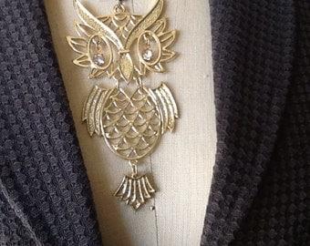 Large Vintage Brass Owl Pendant