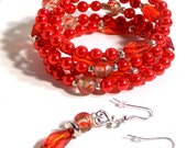 Red Pearl, Lampwork Memory Wire Cuff Bracelet, 4 to 8 Coils