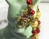 Joker Charm Bracelet, Jester, Mardi Gras Jewelry in Red & Yellow, Mardi Gras Bracelet, Sizes 6' to 9' in Length