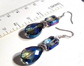 """Dangle Earrings, Large Tear Drop, Rainbow Blue Swarovski Crystal Dangle Earrings, 2"""" Dangle Earrings"""