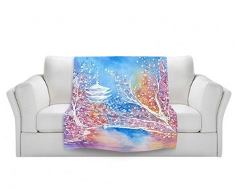 Fleece Blanket - Cherry Blossom Temple Watercolor Painting - Home Decor Cozy Living Room