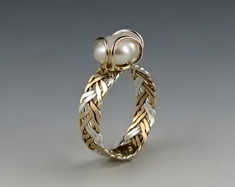 TriColor Double Braided Ring - FreshWater Pearl