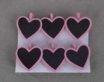 Heart Shaped Chalkboard Clips - Set of 6