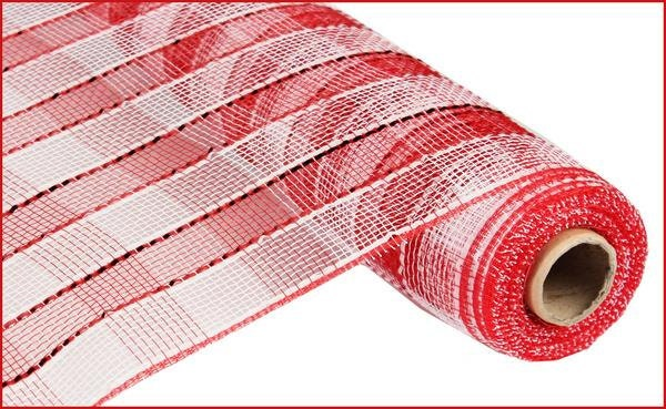 21 inch red white foil mesh roll re1051n5 deco mesh supplies