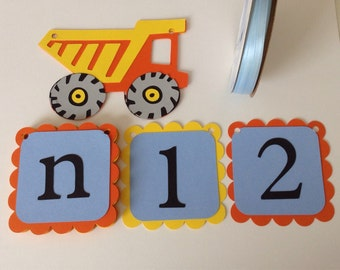 Construction truck, dump truck, first birthday decoration, picture tag banner