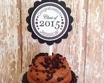 24 graduation cupcake toppers, college or high school graduation toppers, set of 24