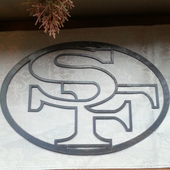 Recycled metal 49ers logo wall decor san francisco nfl for 49ers wall mural