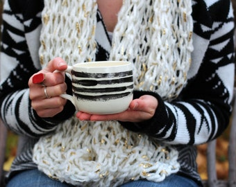 Mini Latte Mug- Black & White Abstract Stripe