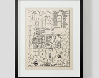 Vintage Map of University of Texas Austin Texas