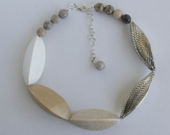 Woven Silver Beads, Large Wooden, Fossilized Coral Asymmetric Statement Necklace