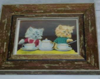 RARE  1941 Harry Whittier Frees Framed book print Kitty Cat Tea Party