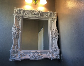 BAROQUE Mirror, White Mirror, Ornate Mirror, Bathroom Mirror , Choose Color , Lots of thickness and Depth,Size 37 1/2   x 33 1/2 INCHES WIDE