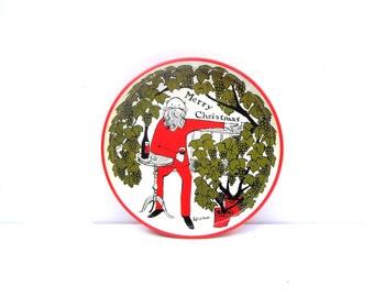 Mid Century Christmas Serving Tray, Santa Merry Christmas Metal Serving Tray, Pat Li Shun Santa Claus