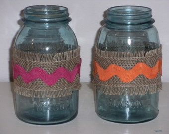 Blue Mason Jars and Burlap