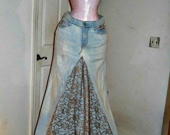 SALE Belle Bohémienne Seven for All Mankind vintage taupe lace Renaissance Denim Couture bohemian ballroom jean skirt