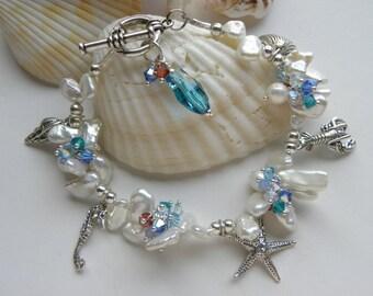 Starfish Bracelet, Keishi Pearl Sea Shell Charm Bracelet, Swarovski Crystal Beach Lobster Sea Horse Mermaid Beach Wedding Bracelet