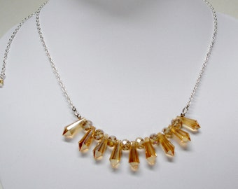 Topaz Spike Beaded Crystal Necklace