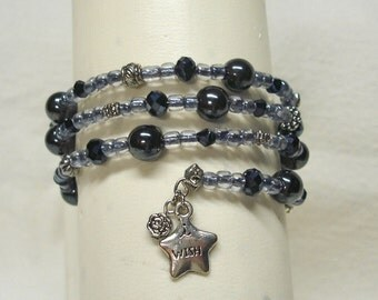 Beaded Grey Memory Wire Wrap Around Bracelet with Star