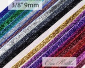 10 Yards 3/8 inch 9mm Sparkle Metallic Cheer Glitter Velvet Ribbon - 19 Colors