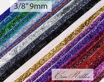10 Yards 3/8 inch 9mm Sparkle Metallic Cheer Glitter Velvet Ribbon - 19 Colors