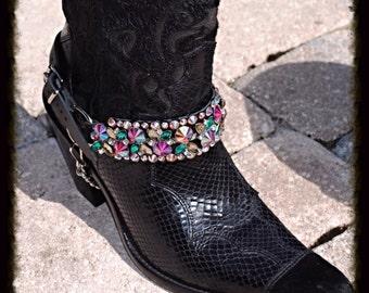 Black Leather Biker Cowboy Boot Chain Straps Multi Crystal Embellished  1 PR