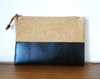 Upcycled Tan Wool Cloth and Black Vinyl Zippered Pouch
