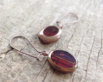 Amber Glass Earrings, Topaz Earrings, Drop Earrings, Dangle Earrings, Small Earrings, Bohemian Jewelry - LAST PAIR!, Mother's Day