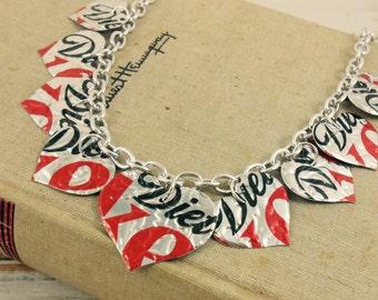 9 Heart Necklace.  DOUBLE-sided and Embossed.  Recycled Soda Can Art.  Diet Coke