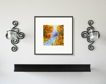Fall Original Painting Four Seasons Series Free Shipping in US