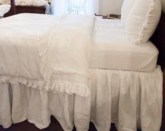 Ruffled Linen Queen Size Bed Skirt/Dust Ruffle